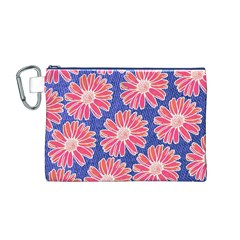 Pink Daisy Pattern Canvas Cosmetic Bag (m)