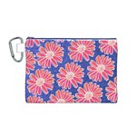 Pink Daisy Pattern Canvas Cosmetic Bag (M) Front