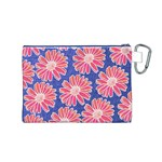 Pink Daisy Pattern Canvas Cosmetic Bag (M) Back