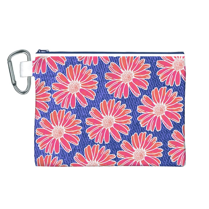 Pink Daisy Pattern Canvas Cosmetic Bag (L)