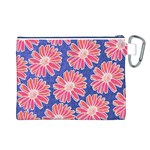 Pink Daisy Pattern Canvas Cosmetic Bag (L) Back