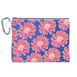 Pink Daisy Pattern Canvas Cosmetic Bag (XL) Front