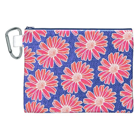 Pink Daisy Pattern Canvas Cosmetic Bag (XXL)