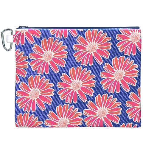Pink Daisy Pattern Canvas Cosmetic Bag (XXXL)