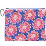 Pink Daisy Pattern Canvas Cosmetic Bag (XXXL) Front