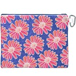 Pink Daisy Pattern Canvas Cosmetic Bag (XXXL) Back