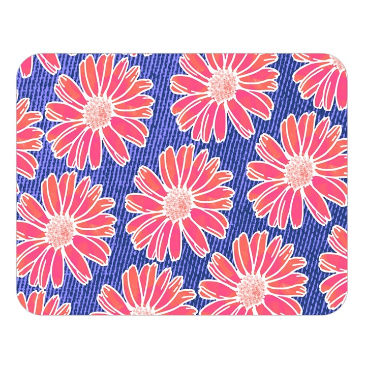 Pink Daisy Pattern Double Sided Flano Blanket (Large)