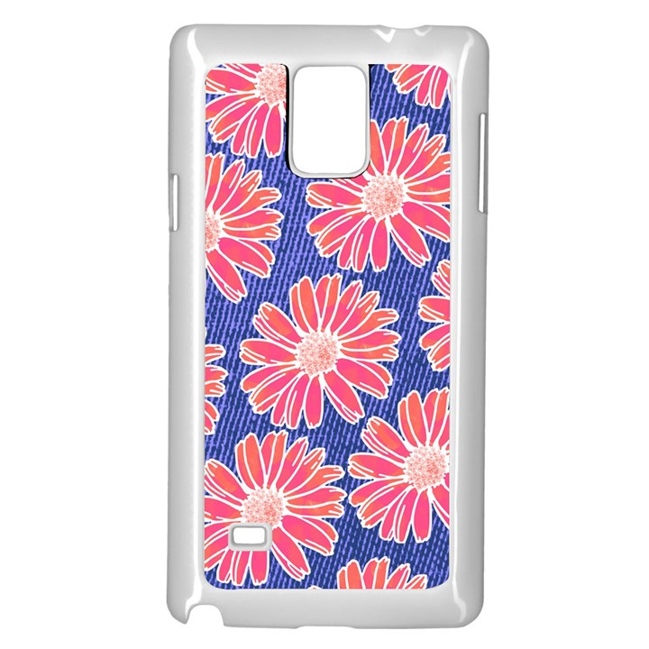 Pink Daisy Pattern Samsung Galaxy Note 4 Case (White)