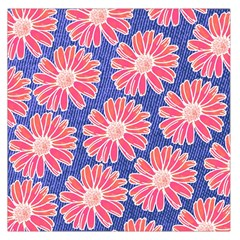 Pink Daisy Pattern Large Satin Scarf (Square)