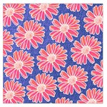 Pink Daisy Pattern Large Satin Scarf (Square) Front