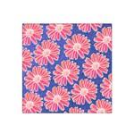 Pink Daisy Pattern Satin Bandana Scarf Front