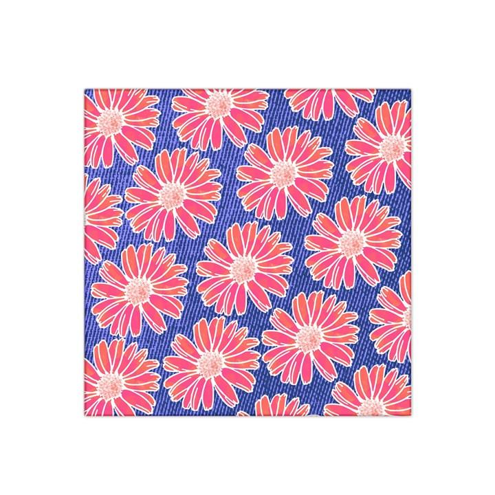 Pink Daisy Pattern Satin Bandana Scarf