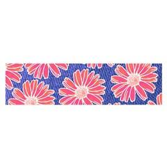 Pink Daisy Pattern Satin Scarf (Oblong)