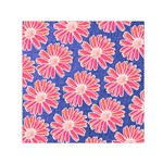 Pink Daisy Pattern Small Satin Scarf (Square)  Front