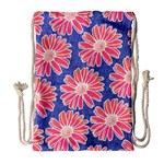 Pink Daisy Pattern Drawstring Bag (Large) Front