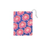 Pink Daisy Pattern Drawstring Pouches (XS)  Front