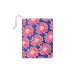 Pink Daisy Pattern Drawstring Pouches (XS)  Back
