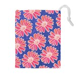 Pink Daisy Pattern Drawstring Pouches (Extra Large) Front