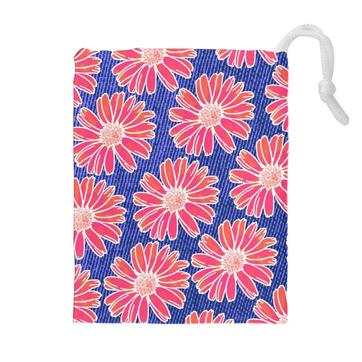 Pink Daisy Pattern Drawstring Pouches (Extra Large)