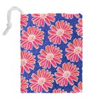 Pink Daisy Pattern Drawstring Pouches (Extra Large) Back