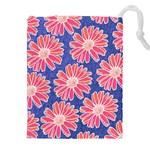 Pink Daisy Pattern Drawstring Pouches (XXL) Front