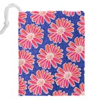 Pink Daisy Pattern Drawstring Pouches (XXL) Back