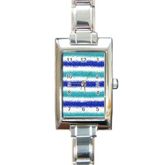 Metallic Blue Glitter Stripes Rectangle Italian Charm Watch