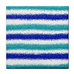 Metallic Blue Glitter Stripes Tile Coasters Front
