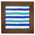 Metallic Blue Glitter Stripes Framed Tiles Front