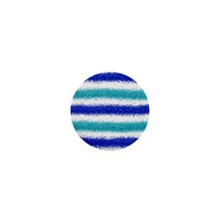 Metallic Blue Glitter Stripes 1  Mini Magnets