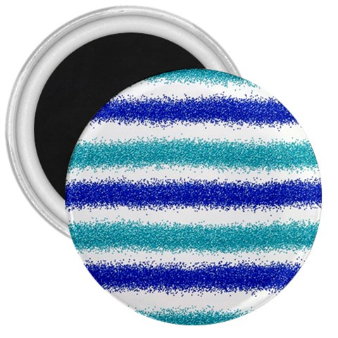 Metallic Blue Glitter Stripes 3  Magnets