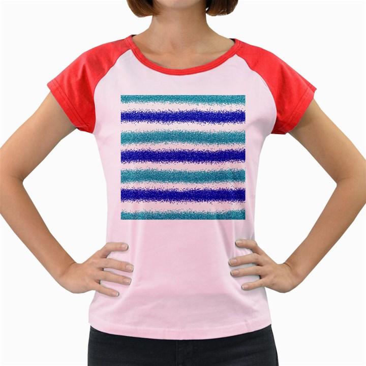 Metallic Blue Glitter Stripes Women s Cap Sleeve T-Shirt