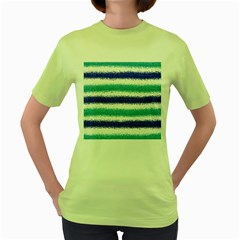 Metallic Blue Glitter Stripes Women s Green T-Shirt