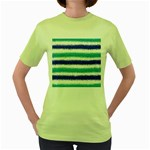 Metallic Blue Glitter Stripes Women s Green T-Shirt Front