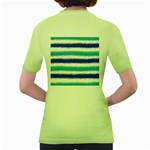 Metallic Blue Glitter Stripes Women s Green T-Shirt Back