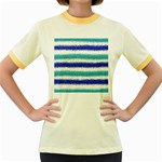 Metallic Blue Glitter Stripes Women s Fitted Ringer T-Shirts Front