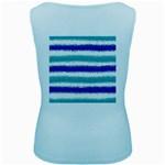 Metallic Blue Glitter Stripes Women s Baby Blue Tank Top Back