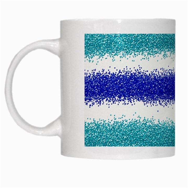 Metallic Blue Glitter Stripes White Mugs