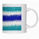 Metallic Blue Glitter Stripes White Mugs Right