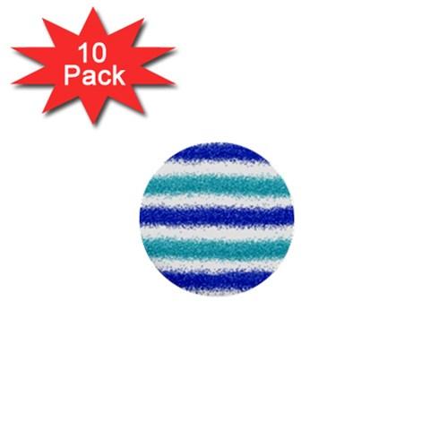 Metallic Blue Glitter Stripes 1  Mini Buttons (10 pack)