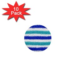 Metallic Blue Glitter Stripes 1  Mini Buttons (10 pack)