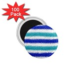 Metallic Blue Glitter Stripes 1.75  Magnets (100 pack)  Front