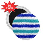 Metallic Blue Glitter Stripes 2.25  Magnets (10 pack)  Front