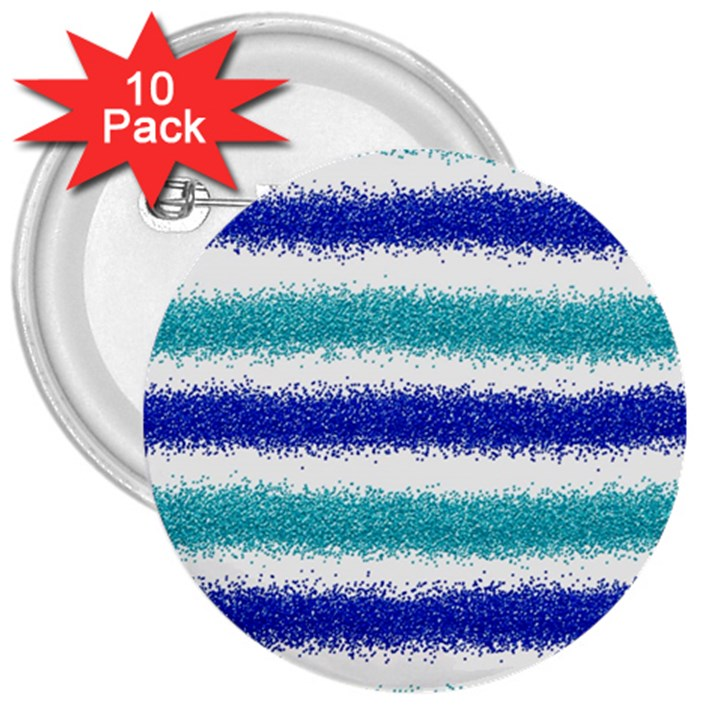 Metallic Blue Glitter Stripes 3  Buttons (10 pack)