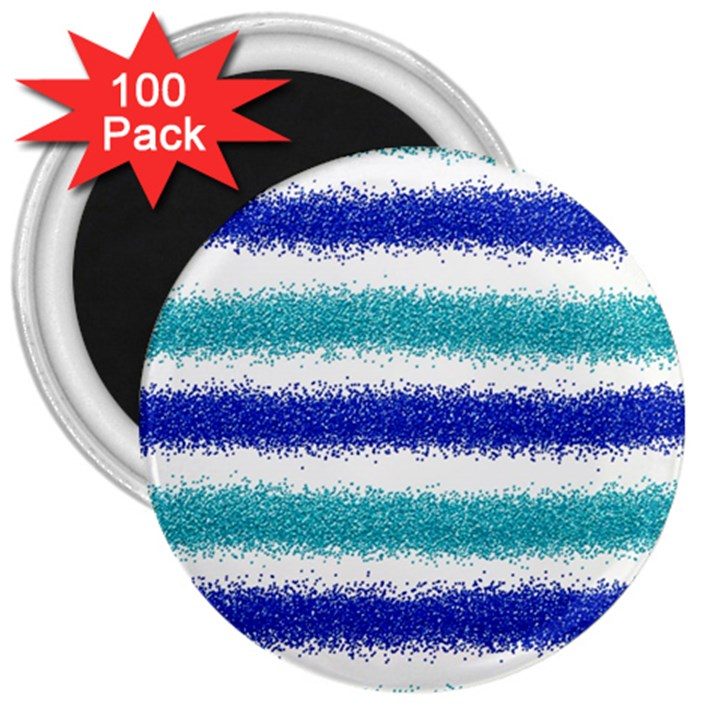Metallic Blue Glitter Stripes 3  Magnets (100 pack)