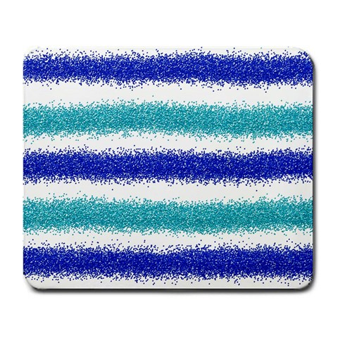 Metallic Blue Glitter Stripes Large Mousepads