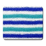Metallic Blue Glitter Stripes Large Mousepads Front