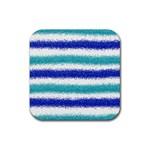 Metallic Blue Glitter Stripes Rubber Coaster (Square)  Front
