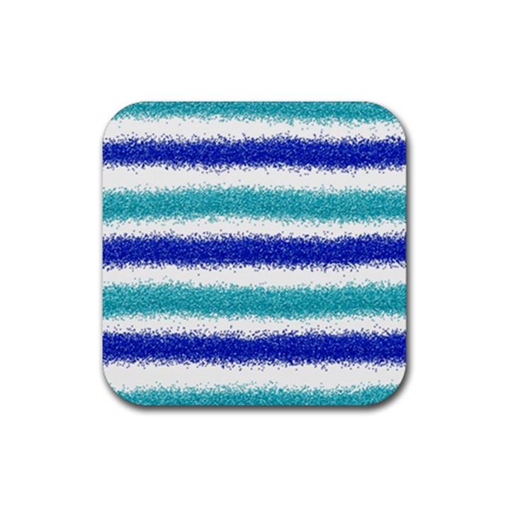 Metallic Blue Glitter Stripes Rubber Coaster (Square)