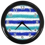 Metallic Blue Glitter Stripes Wall Clocks (Black) Front